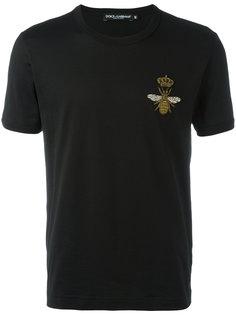 футболка с заплаткой в виде пчелы и короны  Dolce & Gabbana