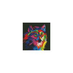 """Алмазная мозаика """"Радужный волк"""" Цветной"""