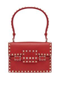 Кожаная сумка Rosso Rockstud Valentino