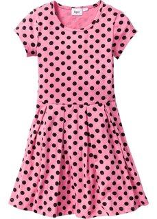 Трикотажное платье (красный/белый в горошек) Bonprix