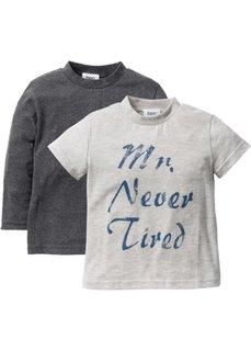 Футболка с длинным рукавом + футболка с коротким рукавом (2 шт.) (светло-серый меланж + меланжев) Bonprix