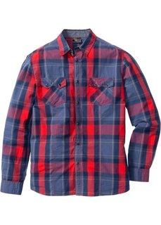 Клетчатая рубашка Regular Fit с длинным рукавом (синий в клетку) Bonprix