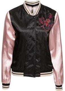 Двухсторонная куртка-бомбер с вышивкой (серебристо-синий/нежно-персико) Bonprix
