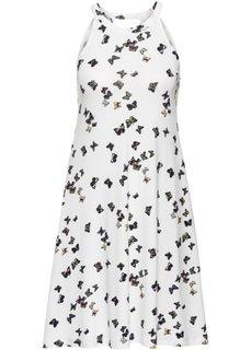 Трикотажное платье (цвет белой шерсти/цветочек с р) Bonprix