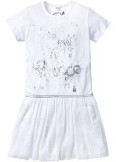 Платье с тюлевой юбкой и блестящим принтом (белый с рисунком) Bonprix