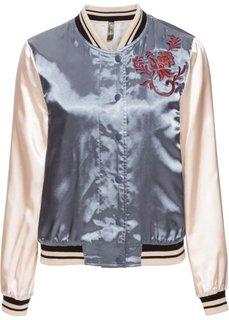 Двухсторонная куртка-бомбер с вышивкой (черный/ярко-коралловый) Bonprix