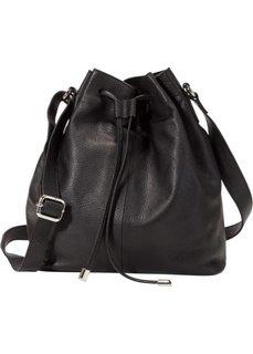 Кожаная сумка-мешок (черный) Bonprix