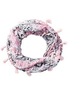Шарф-снуд с разноцветными кисточками (черный/белый/ярко-розовый) Bonprix