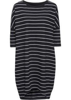 Трикотажное платье оверсайз (белый/ночная синь в полоску) Bonprix