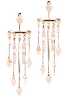Серьги-пусеты с металлической бахромой (розово-золотистый/кремовый) Bonprix