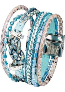 Многорядный браслет (серебристый/синий) Bonprix