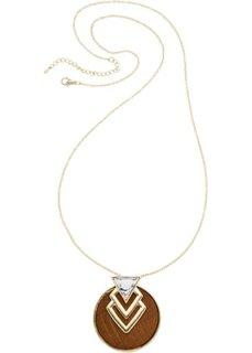 Длинная цепочка с кулоном в графическом стиле (золотистый/коричневый) Bonprix