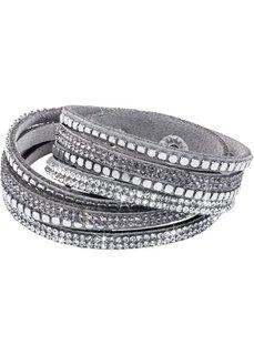 Блестящий браслет для обертывания вокруг запястья с заклепками (черный) Bonprix