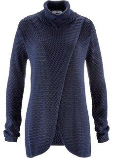 Пуловер с высоким воротом и эффектом запаха (серый) Bonprix