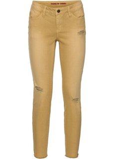 Узкие джинсы до щиколоток в поношенном стиле (белый) Bonprix