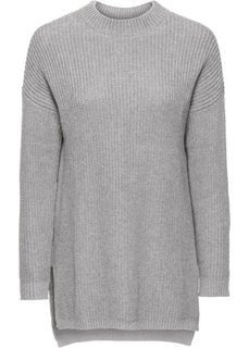 Вязаный пуловер с воротником-стойкой (черный) Bonprix