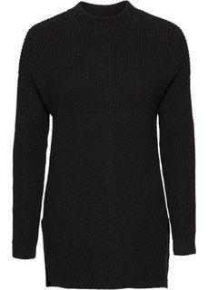 Вязаный пуловер с воротником-стойкой (светло-серый меланж) Bonprix