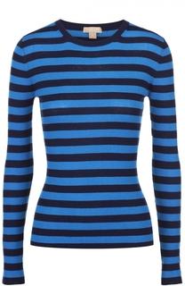 Кашемировый облегающий пуловер в контрастную полоску Michael Kors