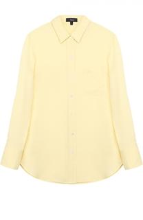 Шелковая блуза прямого кроя с накладным карманом Theory