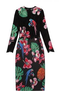 Приталенное платье-миди с кружевным лифом и контрастным принтом Valentino