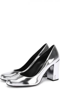 Туфли Babies из металлизированной кожи на устойчивом каблуке Saint Laurent