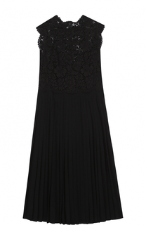 Платье-миди с кружевным лифом и юбкой в складку Valentino