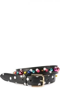 Кожаный ремень с принтом и декором Dolce & Gabbana