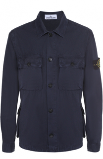 Хлопковая рубашка с накладными карманами Stone Island
