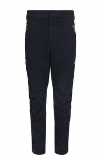 Хлопковые зауженные брюки с заниженной линией шага Balmain