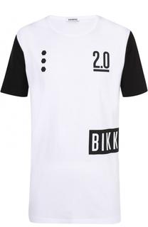 Удлиненная хлопковая футболка с контрастной отделкой Dirk Bikkembergs