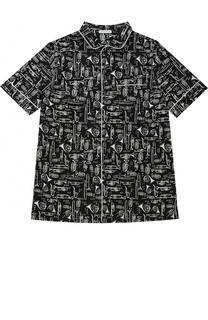 Хлопковая рубашка с короткими рукавами и принтом Dolce & Gabbana