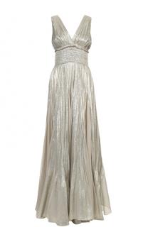 Приталенное платье-макси с V-образным вырезом и металлизированной отделкой Oscar de la Renta