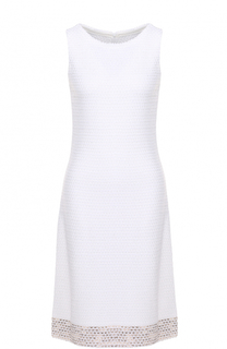 Приталенное платье фактурной вязки без рукавов St. John
