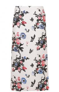 Юбка-миди с контрастным цветочным принтом Valentino