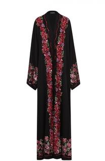 Шелковая абайя с цветочной вышивкой пайетками Dolce & Gabbana