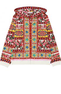 Кардиган джерси с капюшоном и принтом Dolce & Gabbana