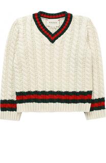 Хлопковый пуловер с контрастными манжетами и воротником Gucci