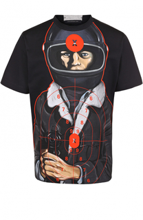 Хлопковая футболка с контрастным принтом Christopher Kane
