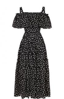 Приталенное платье-миди с открытыми плечами и принтом горох Dolce & Gabbana