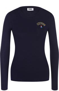 Облегающий пуловер с круглым вырезом и контрастной вышивкой Sonia by Sonia Rykiel