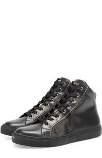 Высокие кожаные кеды на шнуровке Balmain