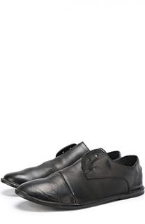Кожаные ботинки с эффектом состаривания на плоской подошве Marsell