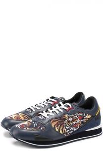 Комбинированные кроссовки с контрастным принтом Kenzo