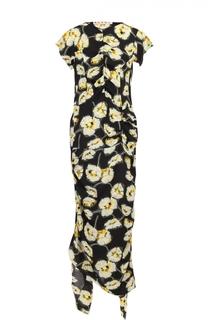 Платье-макси асимметричного кроя с цветочным принтом Marni