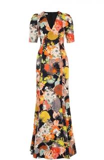 Приталенное платье-макси с V-образным вырезом и цветочным принтом Dries Van Noten