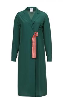 Шелковое платье-рубашка прямого кроя с контрастной отделкой Stella Jean