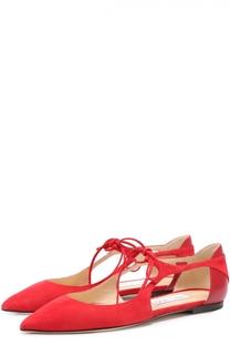 Замшевые балетки Vanessa с кожаной отделкой на шнуровке Jimmy Choo