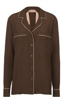 Блуза в пижамном стиле с контрастной отделкой No. 21