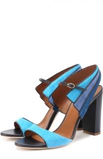 Замшевые босоножки на устойчивом каблуке Malone Souliers