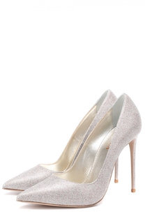 Кожаные туфли с глиттером на шпильке Le Silla